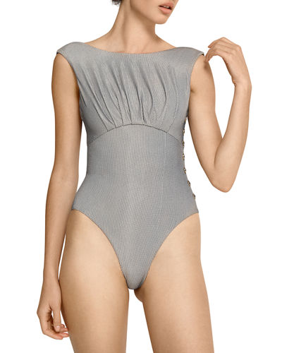 5e1fb3fba9 Quick Look. Amaio Swim · Ophelia High-Cut Button Maillot One-Piece Swimsuit