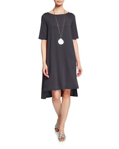 Petite Half-Sleeve High-Low Jersey Dress