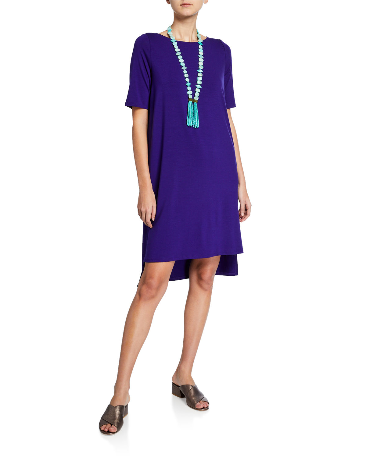 Eileen Fisher Dresses PLUS SIZE ELBOW-SLEEVE HIGH-LOW JERSEY DRESS