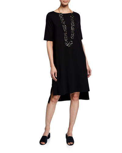 Elbow-Sleeve High-Low Jersey Dress