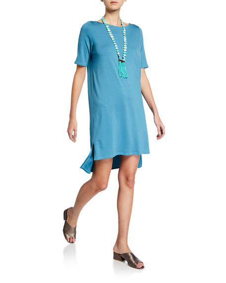 Eileen Fisher Dresses ELBOW-SLEEVE HIGH-LOW JERSEY DRESS