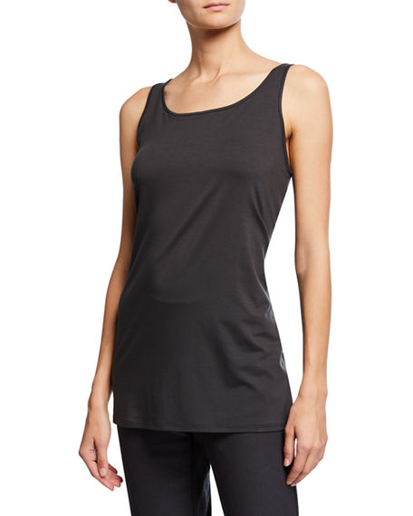 Image 1 of 3: Eileen Fisher Scoop-Neck Long Jersey-Knit Tank