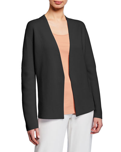 Shaped Silk/Organic Cotton Interlock Cardigan  Petite