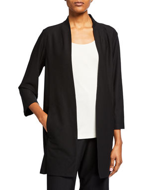 14d70b464c2f5 Eileen Fisher Petite Open-Front 3 4-Sleeve Lightweight Stretch Crepe Jacket