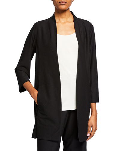 Plus Size Open-Front 3/4-Sleeve Lightweight Stretch Crepe Jacket