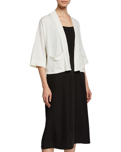 Open-Front 3/4-Sleeve Short Cardigan with Pockets, Petite
