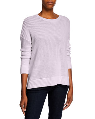 9f0519bf Eileen Fisher Organic Cotton Jewel-Neck Long-Sleeve Sweater