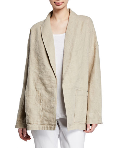 Organic Linen Shawl-Collar Jacket  Plus Size