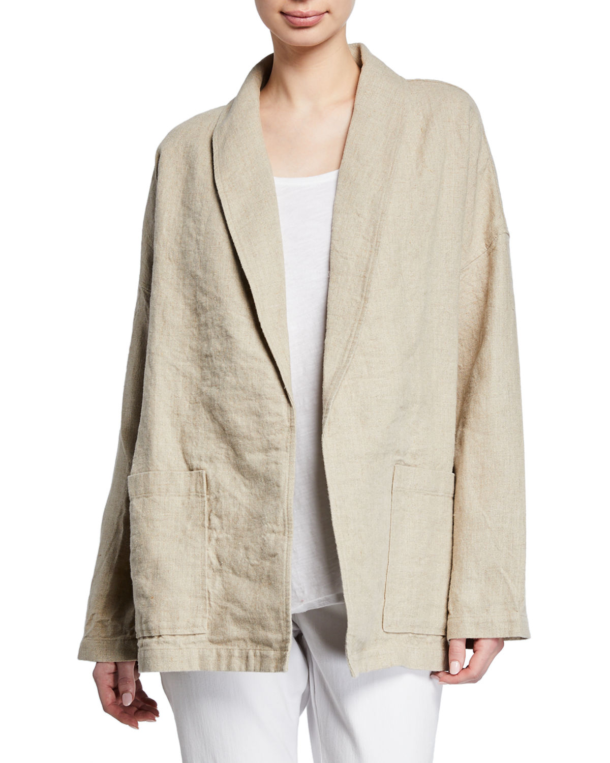 68bcee6b0ce Eileen Fisher Organic Linen Shawl Collar Jacket and Matching Items ...