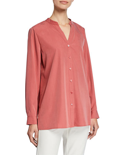 Petite Sand-Wash Band-Collar Long-Sleeve Shirt