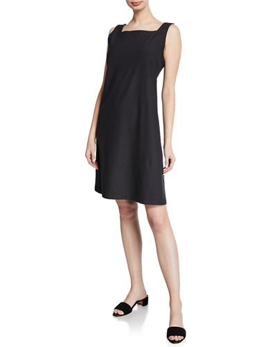 Sleeveless Square-Neck Stretch Crepe Dress