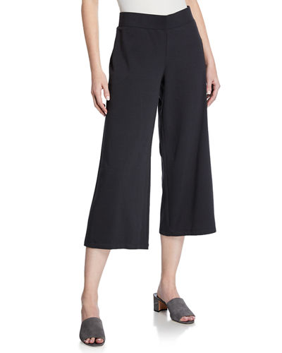 Petite Jersey Wide-Leg Cropped Pants