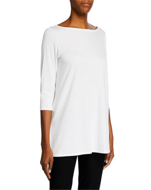 Eileen Fisher Boat-Neck 3/4-Sleeve Jersey Tunic