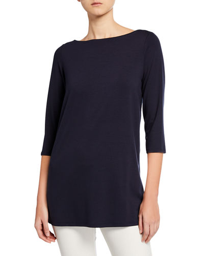 6044a0fd698b8 Quick Look. Eileen Fisher · Plus Size Boat-Neck ...