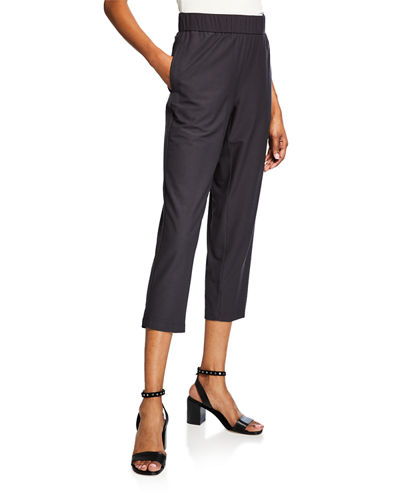 Plus Size Lightweight Stretch Crepe Cropped Pants