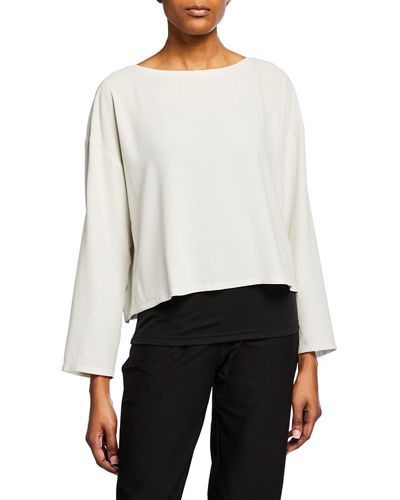 Boat-Neck Bracelet-Sleeve Silk Crepe Crop Top