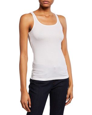 45a2ee33412 Eileen Fisher MicroTencel Ribbed Scoop-Neck Slim Tank Top