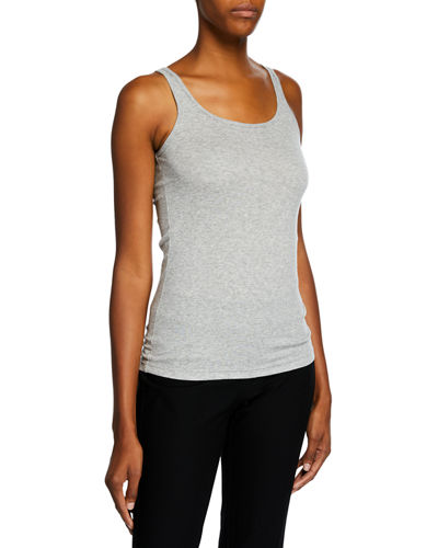 Eileen Fisher MicroTencel Ribbed Scoop-Neck Slim Tank Top