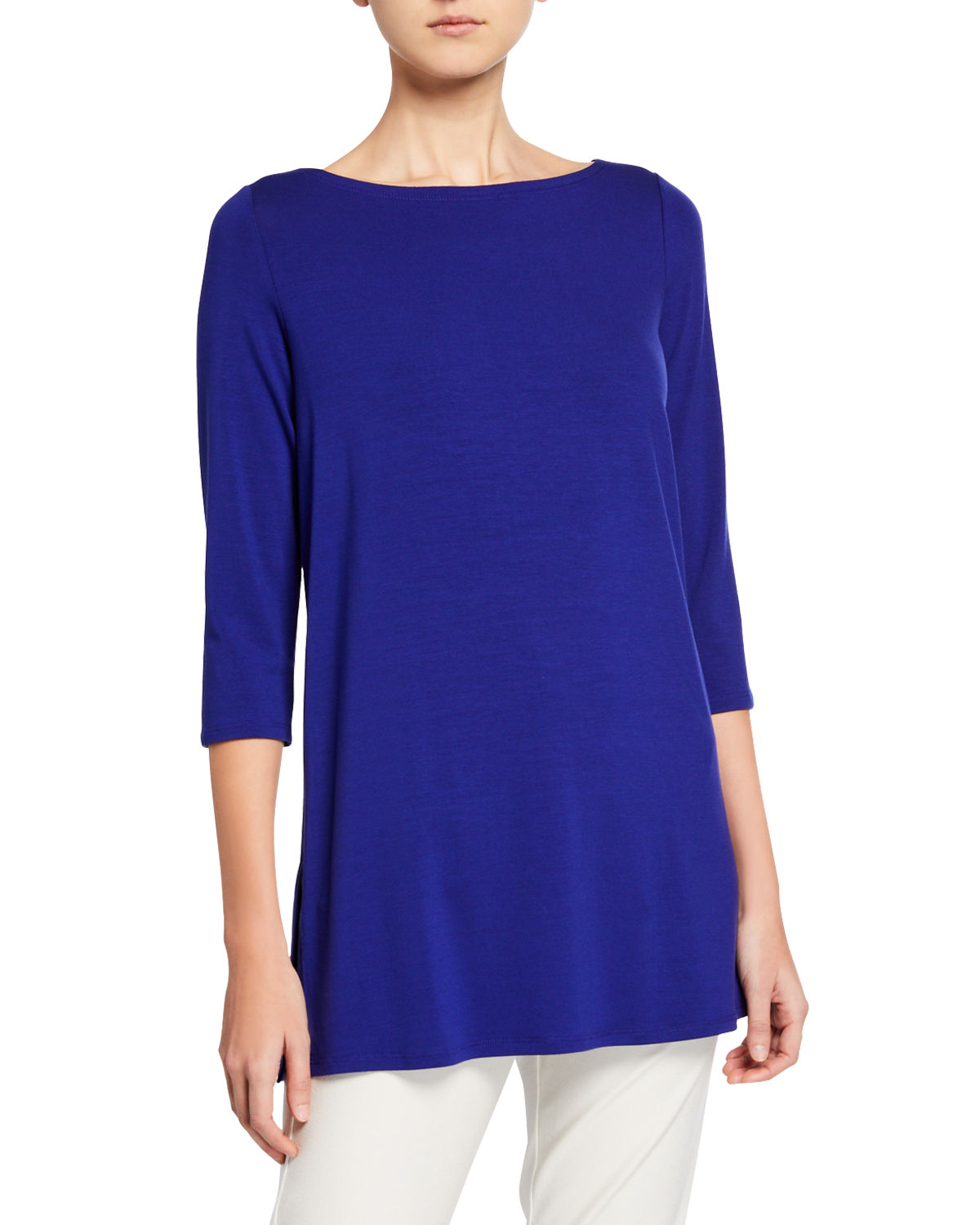 Eileen Fisher Tops PETITE BOAT-NECK 3/4-SLEEVE JERSEY TUNIC
