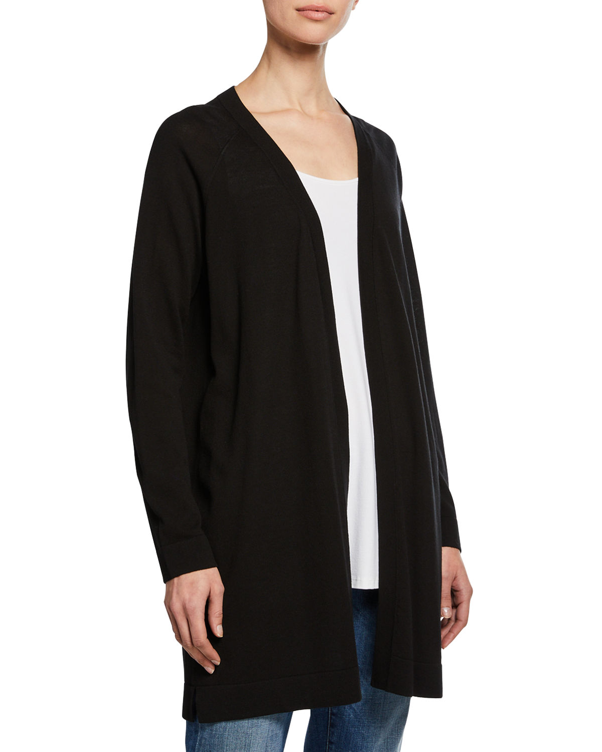 09ab092cdec Eileen Fisher Open-Front Long Stretch-Knit Cardigan | Neiman Marcus