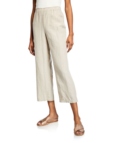 a3bc37ae496265 Quick Look. Eileen Fisher · Plus Size Cropped Organic Linen Straight-Leg  Pants