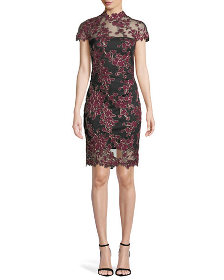Tadashi Shoji Lace Applique Cap Sleeve Cocktail Dress In Sangria