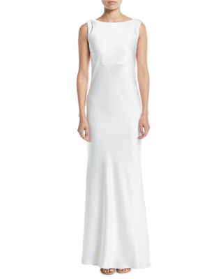 JAY X JAYGODFREY Price Cowl-Back Sleeveless Satin Trumpet Gown in Ivory