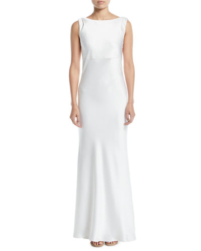 Price Cowl-Back Sleeveless Satin Trumpet Gown