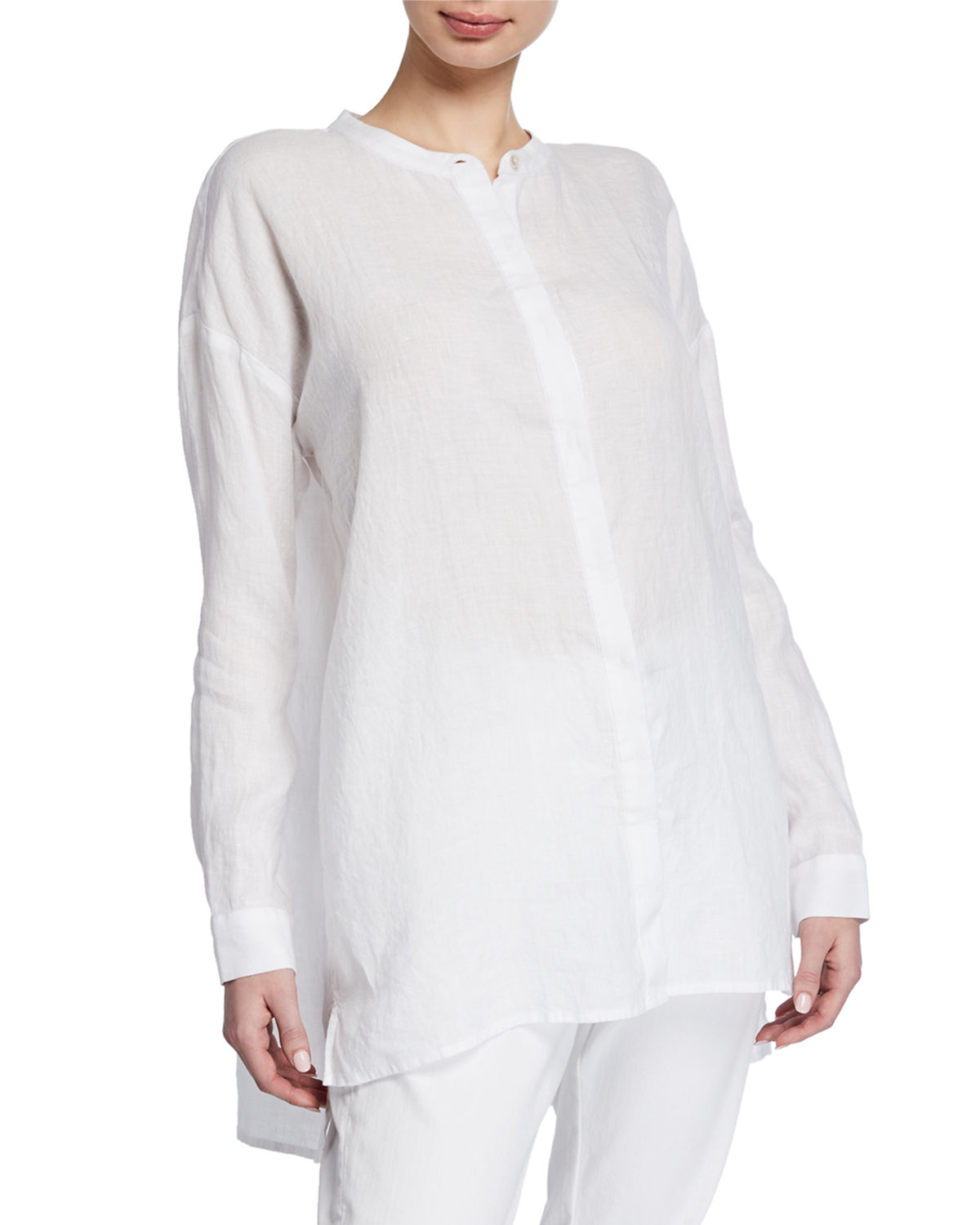 d56d8c62 Eileen Fisher Petite Band-Collar Button-Down Long-Sleeve Handkerchief Linen  Shirt