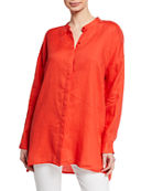 Eileen Fisher Petite Band-Collar Button-Down Long-Sleeve