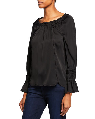 Sierra Scoop-Neck Long-Sleeve Blouse w/ Embroidered Details