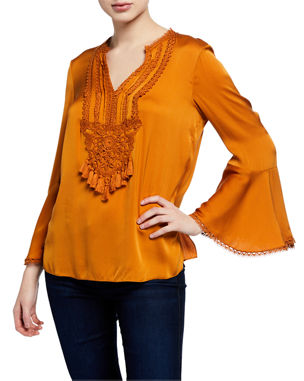 3307bac14 Kobi Halperin Paulette V-Neck Long-Sleeve Silk Blouse