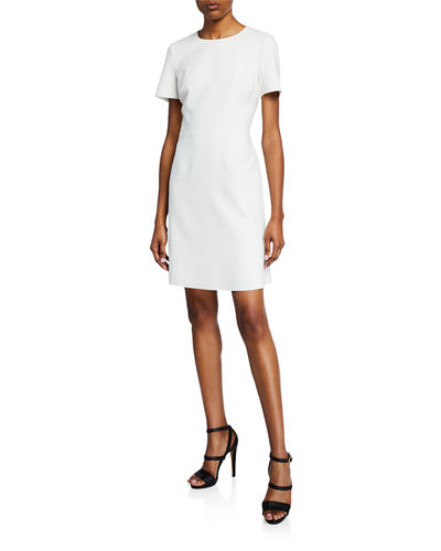 Harper Jewel-Neck Short-Sleeve Sheath Dress