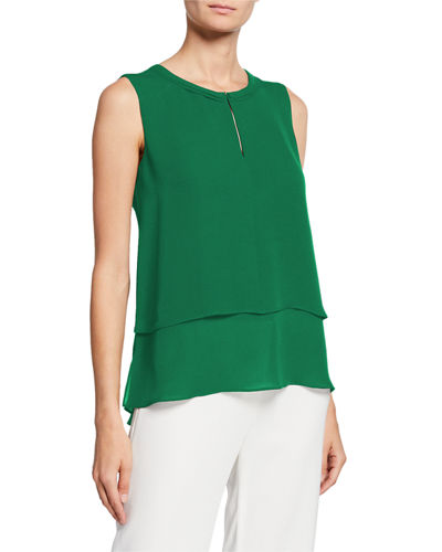 Victoria Sleeveless Layered-Front Silk Blouse