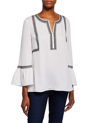 Sabina V-Neck Bell-Sleeve Silk Blouse