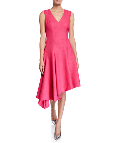 Elie Tahari Shania V-Neck Sleeveless Asymmetric Dress