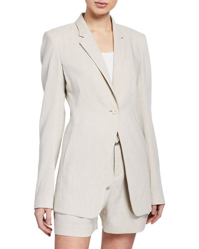 Elie Tahari Hillary One-Button Linen Jacket