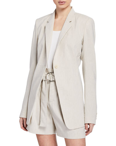Hillary One-Button Linen Jacket