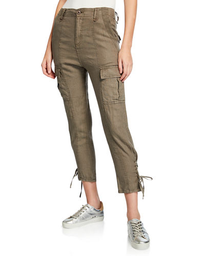 Telutci Cropped Linen Cargo Pants