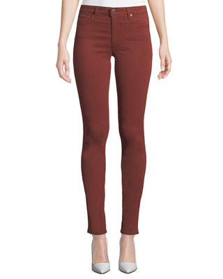 AG Prima Mid-Rise Cigarette Jeans in Tannic Red