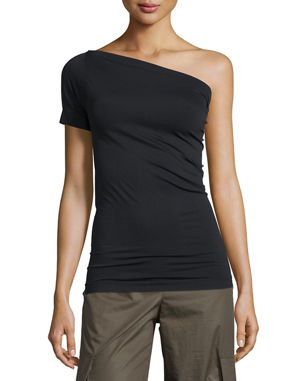 Helmut Lang One-Shoulder Stretch-Knit Tee