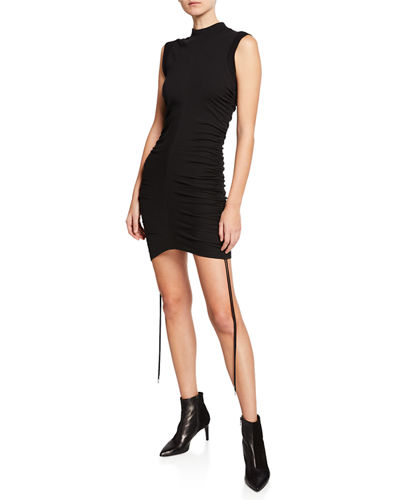 High-Neck Ruched Jersey Dress with Ties