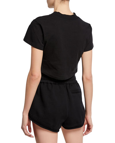 alexanderwang.t High Twist V-Neck Short-Sleeve Ruched Jersey Crop Tee w/ Ties