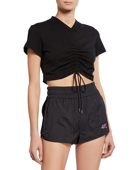 T By Alexander Wang Shorts HIGH TWIST V-NECK SHORT-SLEEVE RUCHED JERSEY CROP TEE W/ TIES