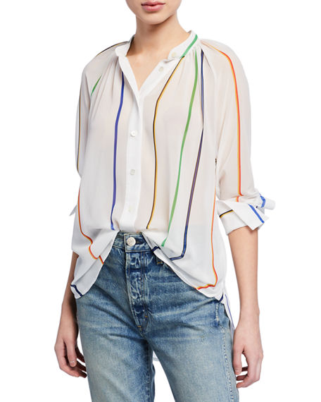 Derek Lam 10 Crosby Tops GATHERED-NECK STRIPED BUTTON-DOWN TOP