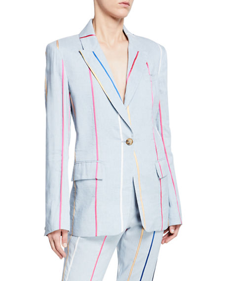 Derek Lam 10 Crosby Striped Single-Button Blazer