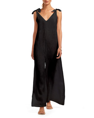 ee259dceb4456 Vitamin A Marina Linen Wide-Leg Coverup Jumpsuit