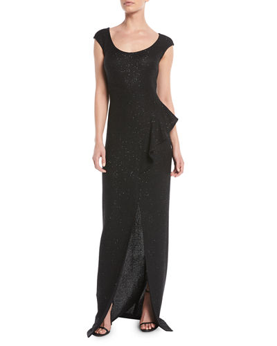 Inlaid Sequin Knit Column Gown