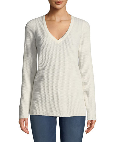 Baby Cable V-Neck Cashmere Sweater