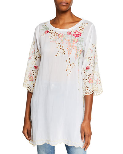 Belina Floral-Embroidered Georgette Tunic w/ Eyelet Detail
